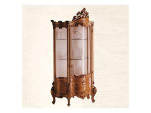 Display Cabinet art. 05, Showcase en bois massif avec verre incurvé, baroque