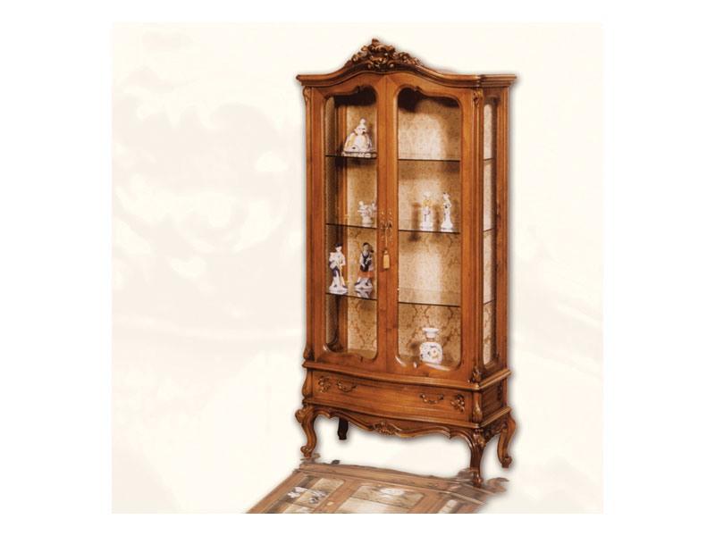 Display Cabinet art. 06, Vitrine en bois avec des portes, de style Louis XV
