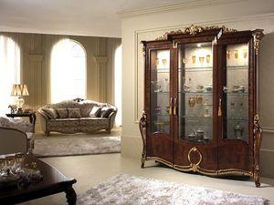 Donatello vitrine avec 3 portes, Afficher armoire avec décor élégant, avec un goût italien classique, pour les cantines