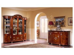 DUCALE DUCSO4PB / Vitrine avec 4 portes B, Vitrine de style classique, en bois de frêne