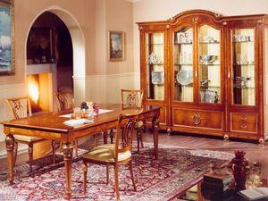 DUCALE DUCSO4PB / Vitrine avec 4 portes, Showcase en cendres et le verre, style classique de luxe