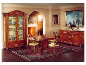 DUCALE DUCVE2P / Vitrine avec 2 portes, Vitrine en frêne avec 2 portes en verre, style classique
