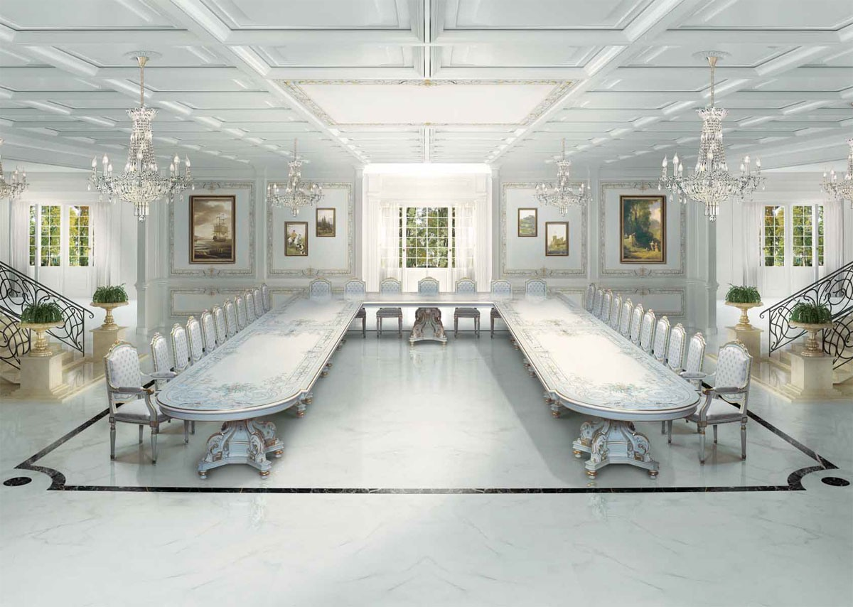 F504 Art Deco dining room, Grande table de luxe classique de style Art Déco