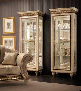 Fantasia 1 porte armoire, Vitrine classique, avec fond de miroir