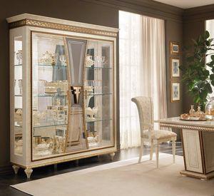 Fantasia 3 portes vitrine, Vitrine luxueuse avec des décorations artisanales