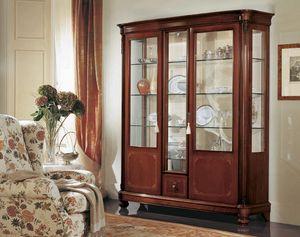 Gardenia Vitrine 3 portes, Vitrine avec 3 portes, avec le verre incurvé, dans un style classique