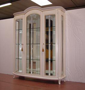 Hilton vitrine 3 portes, Vitrine classique, finition laqu�e ivoire