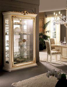 Leonardo vitrine, Vitrines avec fleuron de la feuille d'or, portes en verre
