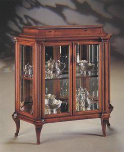 Oxford Art.513 vitrine avec tiroir, Vitrine avec des cristaux de sol et d'un miroir arrière