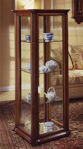 Oxford Art.536 vitrine, Vitrine classique avec verre et roues biseauté, en noyer