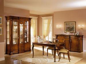 REGINA NOCE / Showcase 2 doors with fixed central body, Vitrine classique avec deux portes, pour la vie de luxe