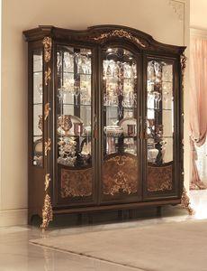 Sinfonia vitrine, Vitrine avec verre biseauté, décorations de feuilles d'or