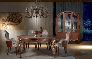 VE38 Vanity vitrine, Vitrine en érable noyer teinté, incrustations florales