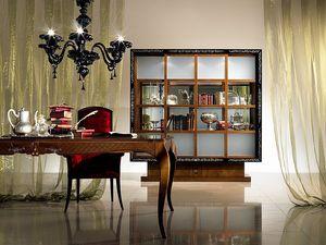 VL19 Quadro, Vitrine Bibliothèque avec portes coulissantes, bois marqueté