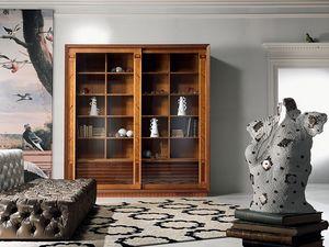 VL25 Le cornici, Vitrine Bibliothèque, avec incrustation, portes coulissantes, pour le salon