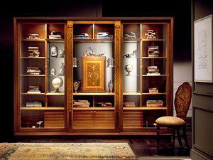 VL661 Le Cornici vitrine, Bibliothèque Showcase avec des incrustations, des meubles de style classique