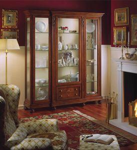 Voltaire Vitrine avec 3 portes, Vitrine classique de luxe avec lumière intérieure, en noyer