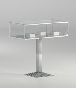 ALLdesign plus 1/PFP, Vitrine horizontal en verre avec base de colonne