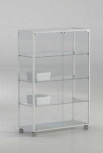 ALLdesign plus 91/14P, Vitrine sur roulettes, en verre avec profils en aluminium