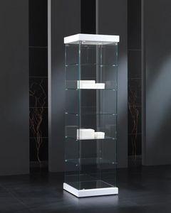 Black&White 5/S, Vitrine en verre trempé, à base carrée