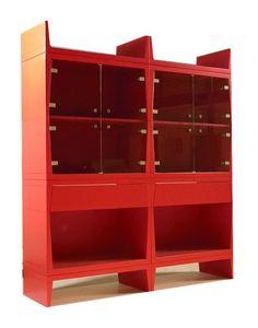 Bright, Vitrines modernes rouges adaptés pour salle à manger