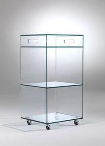 Carrello, Vitrine de cristal avec des roues, pour les boutiques