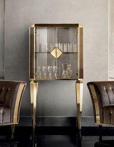 DIAMANTE petite armoire avec des portes en verre, Meuble de salon avec portes vitrées