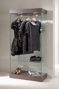 Laminato 131/CA, Vitrine en verre, base en bois, projecteurs, pour le magasin de vêtements