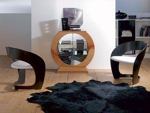 VE29 Oblò, Vitrine en forme de cercle avec miroir, cadre en bois de cerisier